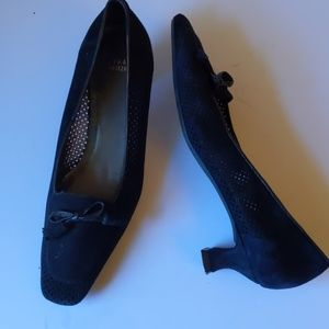 Stuart Weitzman black perforated suede heels -sz 8